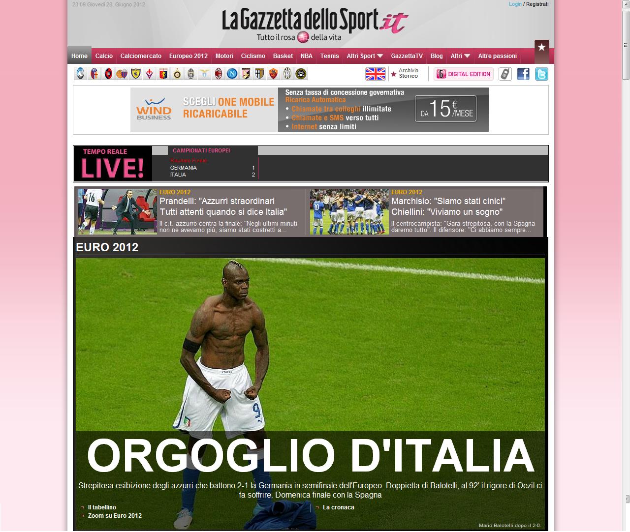 Italia – Germania 2-1: le prime pagine dei giornali online